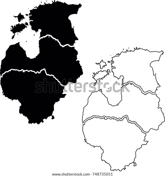 Baltic States Map Lithuania Latvia Estonia Stockillustration ...