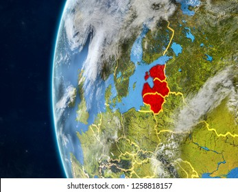 Baltic States from space on model of planet Earth with country borders and very detailed planet surface and clouds. 3D illustration. Elements of this image furnished by NASA.
