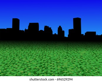 Baltimore skyline with abstract dollar currency foreground 3d illustration