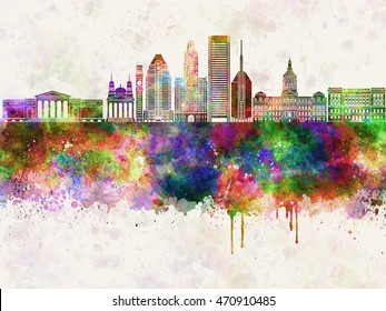 Baltimore V2 skyline in watercolor background