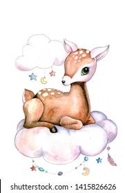 Bambi baby deer cute baby lying on a cloud