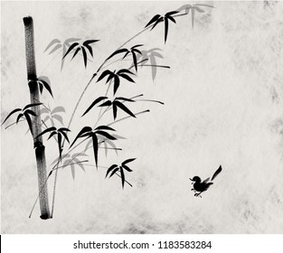 Bamboo and bird. Digital painting Chinese brush Minimalist style illustration of bamboo stems and leaves and a cute bird on Japanese style paper pattern for haiku poem card and note paper