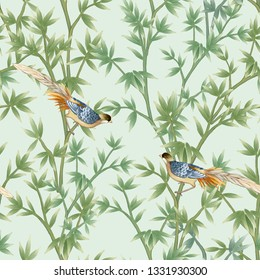 Bamboo bush seamless pattern with birds for fabrics, paper, wallpaper