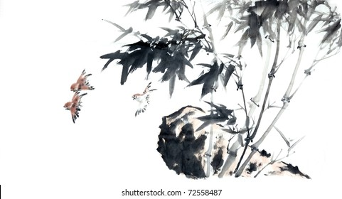 Bamboo - Chinese ink and wash painting.