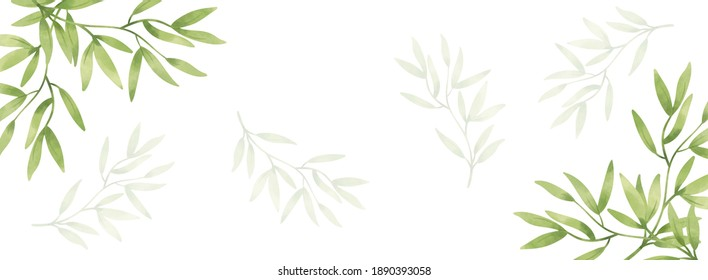 Bamboo green leaf in frame template pattern background