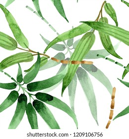 Bamboo green leaf. Leaf plant botanical garden floral foliage. Seamless background pattern. Fabric wallpaper print texture. Aquarelle leaf for background, texture, wrapper pattern, frame or border.