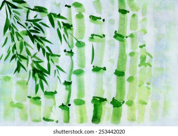 A bamboo grove, drawing in traditional oriental style
