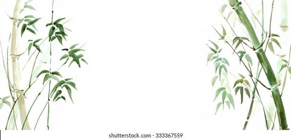 Bamboo grove, watercolor illustration