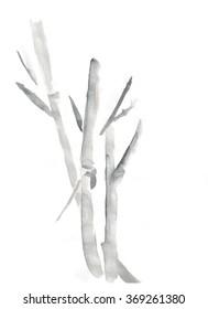 Bamboo harmony watercolor illustration. Chinese design
