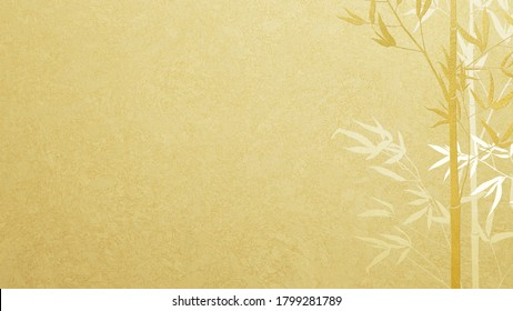 Bamboo silhouette drawn on gold leaf-Japanese style background