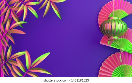 Bamboo, traditional Chinese lanterns lampion, paper fan on purple background. Design concept of chinese festival celebration mid autumn, gong xi fa cai. 3D illustration.