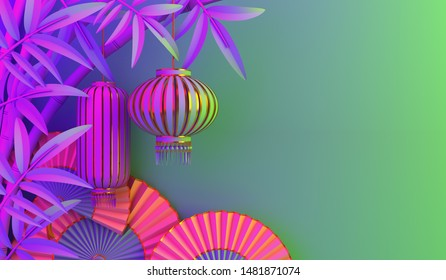 Bamboo, traditional Chinese lanterns lampion, paper fan on purple green gradient background. Design concept of chinese festival celebration mid autumn, gong xi fa cai. 3D illustration.