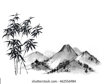 Bamboo tree and mountains on white background. Traditional oriental ink painting sumi-e, u-sin, go-hua.