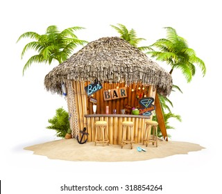 Bamboo tropical bar on a pile of sand. Unusual travel illustration. Isolated