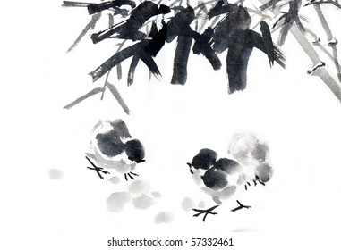 Bamboo,Asian ink and wash painting.