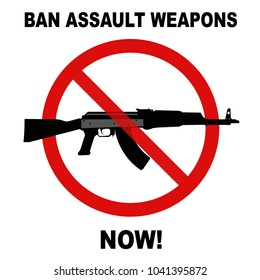 Ban assault weapons now prohibited sign against a white background