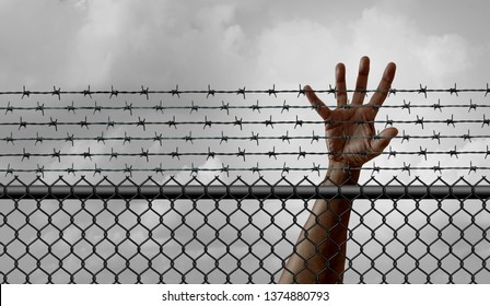 Ban on immigration and refugee restriction social issue and government migration policy as banned newcomers or blocked international migrants on a border fence with 3D illustration element