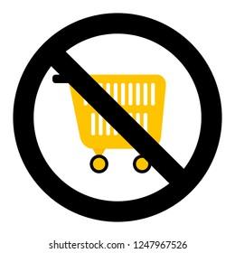 Ban shopping symbol. No pushcart supermarket, trolley and consumer basket for shopping prohibited, illustration