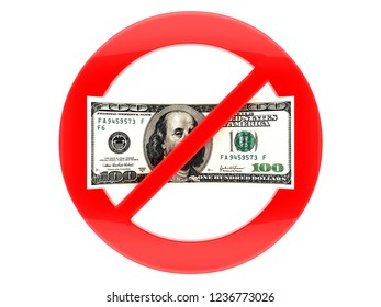 Ban sign and dollar.3d illustration