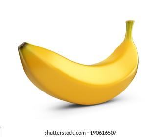 Banana fruit, 3D icon. Illustration isolated on white background