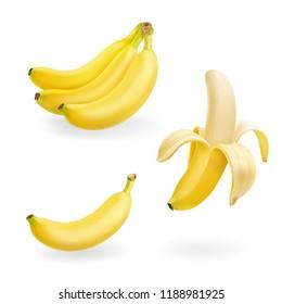 Banana fruit set realistic icons