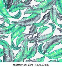 Banana leaves, banana leaf textile design. Fashion, Wallpaper, background with tropical design.