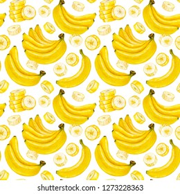 Banana. Banana slice. Bunch of bananas. Watercolor botanical illustration. Watercolor fruit. Pattern.