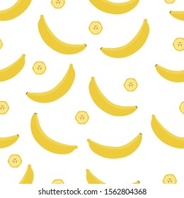 Bananas and sliced pieces on white background. Seamless pattern