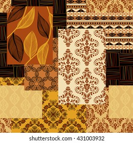 Bandanna patchwork fabric.Seamless pattern in custom colors