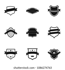 Banderole icons set. Simple set of 9 banderole icons for web isolated on white background