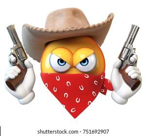 Bandit emoji isolated on white background, wild west robber emoticon 3d rendering