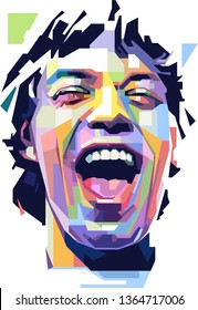 Bandung, West Java Indonesia - 04/10/2019: Sir Michael Philip Jagger (born 26 July 1943) is an English singer, songwriter, actor and film producer who gained fame as the lead singer Rolling stones