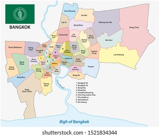 bangkok administrative and political map with flag