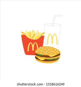 Bangkok Thailand 17 February 2019 : Mcdonald's hamburger, French fries and coca cola drink vector-illustration. Fast food business background