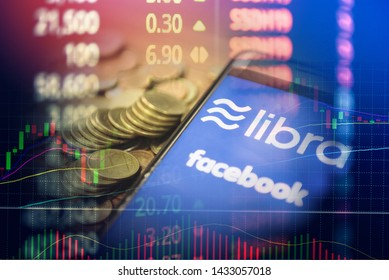 Bangkok Thailand - 20 June 2019 : Libra coin blockchain concept / New project libra a cryptocurrency launched by Facebook stock graph charts looks to mainstream digital currency through apps