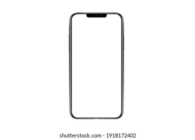 Bangkok, Thailand - FEB 13, 2021: iphone isolated mockup 3D frameless of Smartphone iPhone x Pro Max with blank screen for Infographic Global Business web site design app iphon - Clipping Path