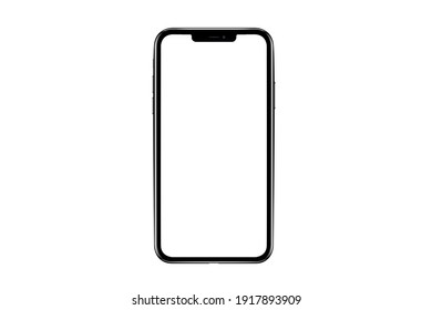 Bangkok, Thailand - Feb 16, 2021: iphone isolated mockup 3D frameless of Smartphone iPhone x Pro Max with blank screen for Infographic Global Business web site design app iphon - Clipping Path