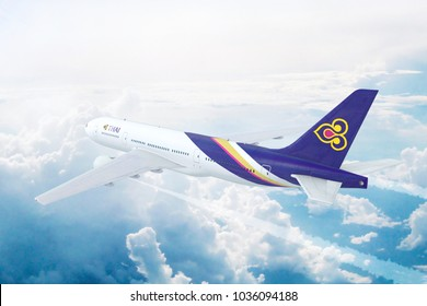 BANGKOK , THAILAND - FEB 28th: Aerial view of Boeing 777 Commercial Jet Aircraft of the Thai Airways. 3D Illustration.