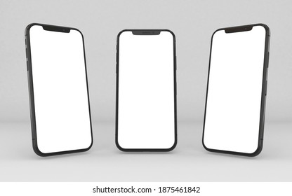 Bangkok, Thailand - MAR 12, 2020 : Newly released iphone 12 pro max pacific blue color 3d realistic vector mockup set