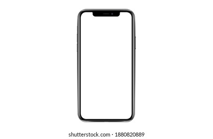 Bangkok, Thailand - November 8, 2020 : iphone isolated mockup 3D frameless of Smartphone iPhone x Pro Max with blank screen for Infographic Global Business web site design app iphon - Clipping Path