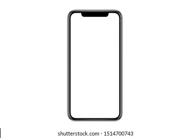 Bangkok, Thailand - Sep 15, 2019: Studio of Smartphone iphone X with blank white screen for Infographic Global Business Marketing investment Plan, mockup model similar to iPhone 11 Pro Max.