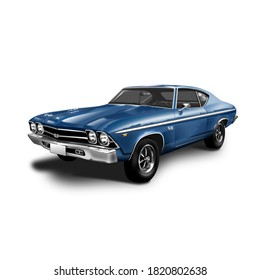 Bangkok Thailand - September 24,2020:1968 chevrolet camaro ss 396 Blue 396 cubic inches of V8 engine 4-speed transmission Classic beauty Popular with collectors. - 3d illustrative image