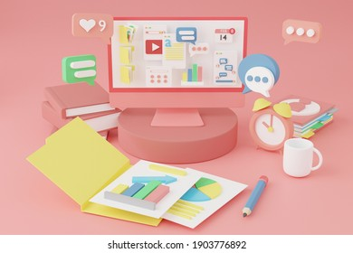 Bangkok,Thailand: Jan 20,2021 : 3D Web Illustrations Computer with open pages and Interface symbols. Cloud computing connecting technology devices in 3D rendering.Business technology work from home