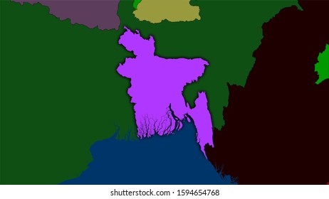Bangladesh area on the administrative divisions map in the stereographic projection - raw composition of raster layers with dark glowing outline
