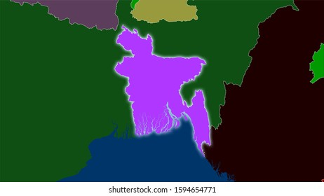 Bangladesh area on the administrative divisions map in the stereographic projection - raw composition of raster layers with light glowing outline