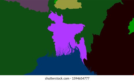 Bangladesh area on the administrative divisions map in the stereographic projection - raw composition of raster layers