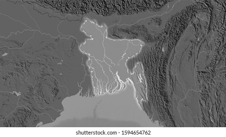 Bangladesh area on the bilevel elevation map in the stereographic projection - raw composition of raster layers with light glowing outline