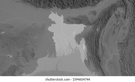Bangladesh area on the grayscale elevation map in the stereographic projection - raw composition of raster layers