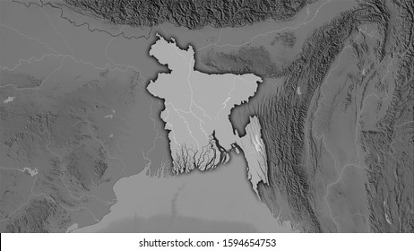 Bangladesh area on the grayscale elevation map in the stereographic projection - raw composition of raster layers with dark glowing outline