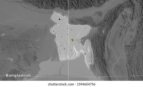 Bangladesh area on the grayscale elevation map in the stereographic projection - main composition